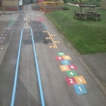 Removing Old Playground Markings in Alderbury 12