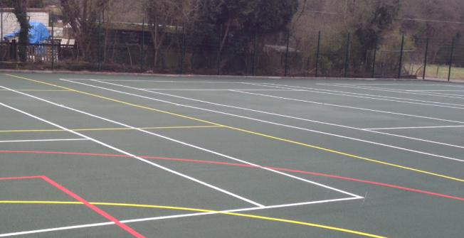 Netball Court Lines in Aston-By-Stone